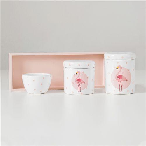 Kit Higiene Cerâmica Flamingo Poá Rosa