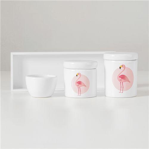 Kit Higiene Cerâmica Flamingo