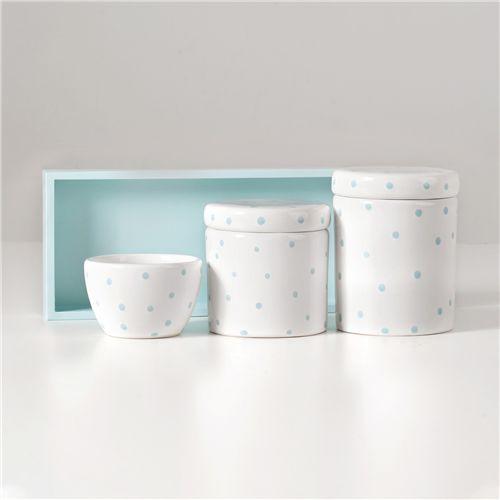 Kit Higiene Cerâmica Poá Azul