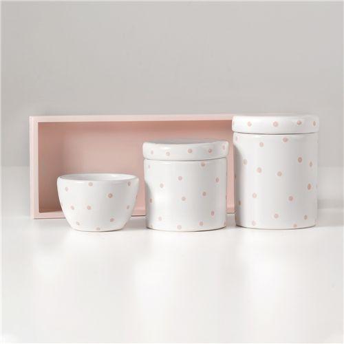 Kit Higiene Cerâmica Poá Rosa