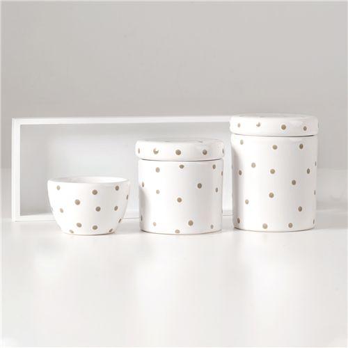Kit Higiene Cerâmica Poá Branco e Bege
