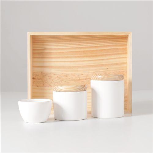 Kit Higiene Cerâmica Branco e Madeira