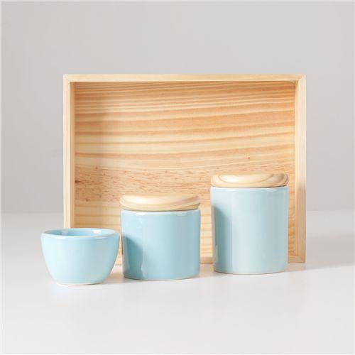 Kit Higiene Cerâmica Azul e Madeira