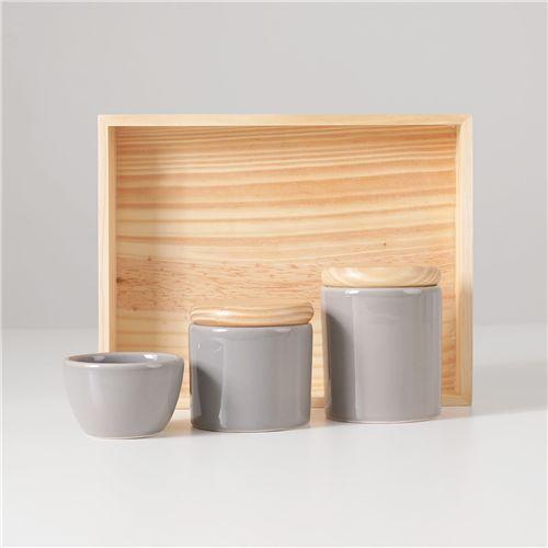 Kit Higiene Cerâmica Cinza e Madeira