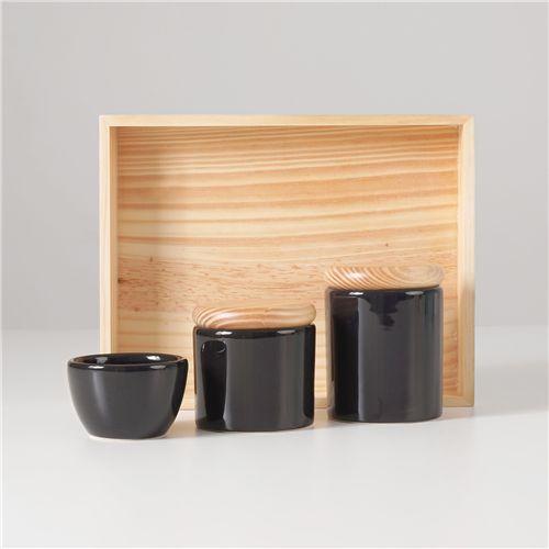 Kit Higiene Cerâmica Preto e Madeira