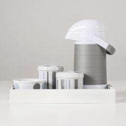 Kit Higiene Porcelana com Garrafa Térmica Listras e Bolas Cinza