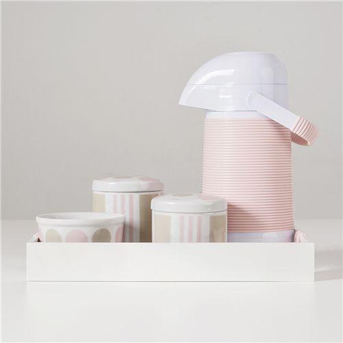 Kit Higiene Porcelana com Garrafa Térmica Listras e Bolas Rosa