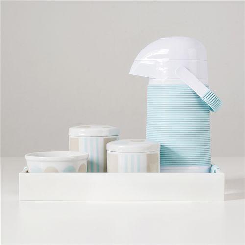 Kit Higiene Porcelana com Garrafa Térmica Listras e Bolas Azul
