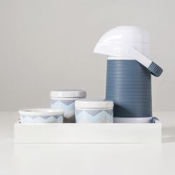 Kit Higiene Porcelana com Garrafa Térmica Chevron Azul