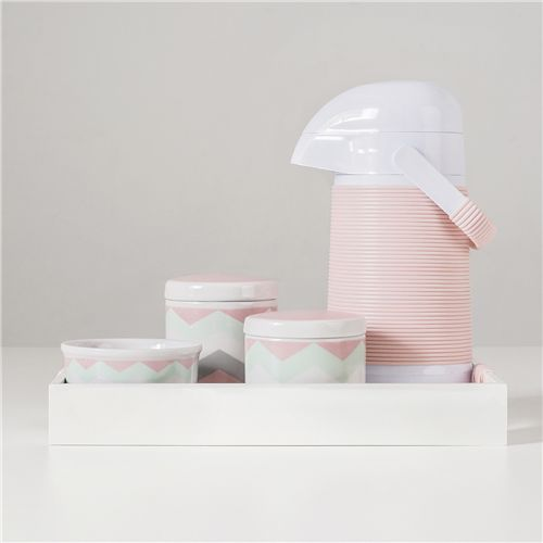 Kit Higiene Porcelana com Garrafa Térmica Chevron Rosa