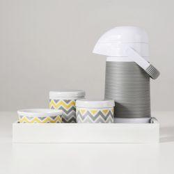 Kit Higiene Porcelana com Garrafa Térmica Chevron Amarelo