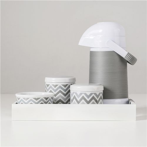 Kit Higiene Porcelana com Garrafa Térmica Chevron Cinza
