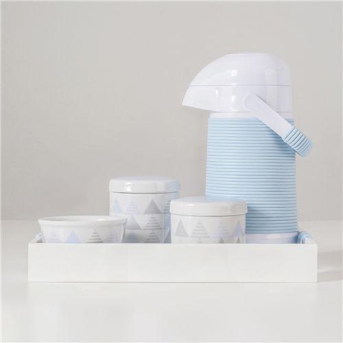 Kit Higiene Porcelana com Garrafa Térmica Geométrico Azul