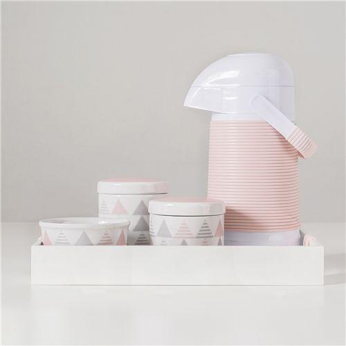 Kit Higiene Porcelana com Garrafa Térmica Geométrico Rosa