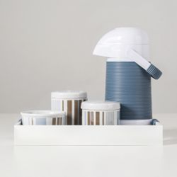 Kit Higiene Porcelana com Garrafa Térmica Listras Azul/Capuccino