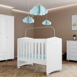 Quarto de Bebê Enfance com Berço/Cômoda/ Guarda-Roupas 4 Portas