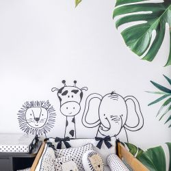 Papel de Parede Leão, Girafa e Elefante Amiguinhos da Floresta 3m