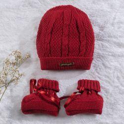 Touca e Sapatinho para Bebê Tricot Vermelho