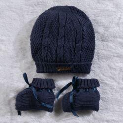Touca e Sapatinho para Bebê Tricot Azul Marinho