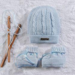 Touca e Sapatinho para Bebê Tricot Azul