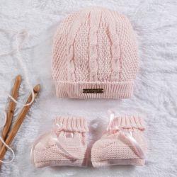 Touca e Sapatinho para Bebê Tricot Rosa