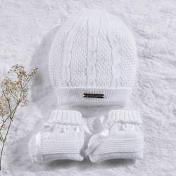 Touca e Sapatinho para Bebê Tricot Branco