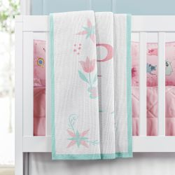 Manta Bebê Tricot Princesa Personalizada 1ª Letra do Nome Bebê 1m