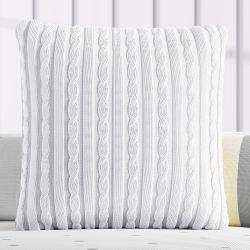 Almofada Quadrada Tricot Trança Branco