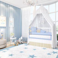 Quarto de Bebê Tricot Poá Azul