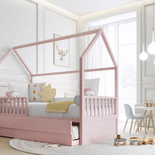 Cama Casinha Montessori Rosa Solteiro 4 em 1 com Auxiliar - Puppi