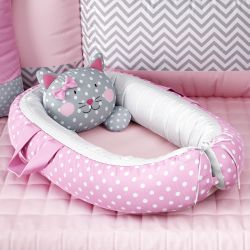 Ninho para Bebê Redutor de Berço Amiguinha Gatinha Rosa 75cm