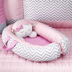Ninho para Bebê Redutor de Berço Amiguinha Ovelhinha Rosa