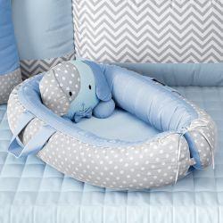 Ninho para Bebê Redutor de Berço Amiguinho Cachorrinho Azul 75cm