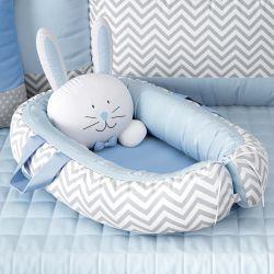 Ninho para Bebê Redutor de Berço Amiguinho Coelhinho Azul