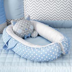 Ninho para Bebê Redutor de Berço Amiguinho Gatinho Azul 75cm