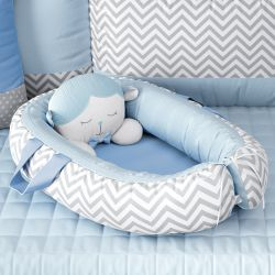 Ninho para Bebê Redutor de Berço Amiguinho Carneirinho Azul 75cm