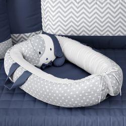 Ninho para Bebê Redutor de Berço Amiguinho Cachorrinho Azul Marinho 75cm