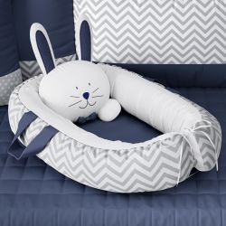 Ninho para Bebê Redutor de Berço Amiguinho Coelhinho Azul Marinho 75cm