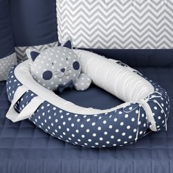 Ninho para Bebê Redutor de Berço Amiguinho Gatinho Azul Marinho