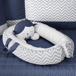 Ninho para Bebê Redutor de Berço Amiguinho Carneirinho Azul Marinho 75cm