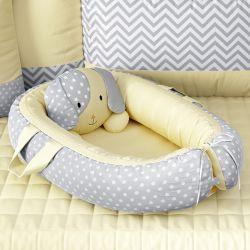 Ninho para Bebê Redutor de Berço Amiguinho Cachorrinho Amarelo