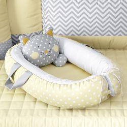 Ninho para Bebê Redutor de Berço Amiguinho Gatinho Amarelo