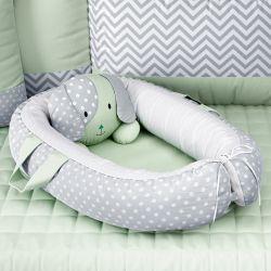 Ninho para Bebê Redutor de Berço Amiguinho Cachorrinho Verde 75cm