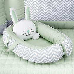 Ninho para Bebê Redutor de Berço Amiguinho Coelhinho Verde 75cm