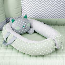 Ninho para Bebê Redutor de Berço Amiguinho Gatinho Verde 75cm
