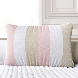 Almofada Tricot Listras Rosa/Branco e Bege 45CM