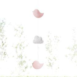 Pêndulo Cortina Nuvem Passarinho Rosa