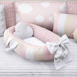 Ninho para Bebê Redutor de Berço Tricot Nuvem Rosa