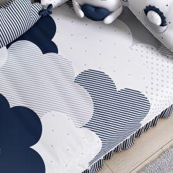 Edredom de Berço Estampado Nuvem de Algodão Azul Marinho