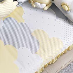 Edredom de Berço Estampado Nuvem de Algodão Amarelo
